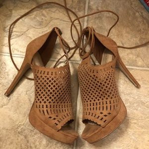 Aldo brown wrap heels